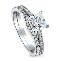BERRICLE Rhodium Plated Sterling Silver Princess Cut Cubic Zirconia CZ Solitaire Engagement Wedding Ring Set 1.56 CTW