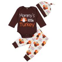 Baby Boy Girl Thanksgiving Outfit Newborn 1st Thanksgiving Onesie Turkey Pants with Hat Clothes Set 6-9 Months Brown