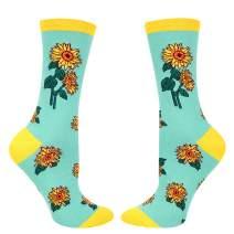 Women's Funny Cactus Sunflower Rose Socks, Crazy Novelty Plant Flower Socks