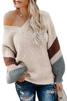 Yanekop Womens V Neck Off Shoulder Color Block Striped Sleeve Chunky Pullover Sweater