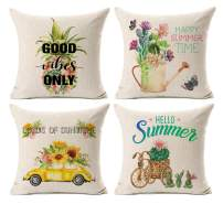Kithomer Summer Decorations Pillow Cases 18 x 18 Leaf Cactus Pineapple Set of 4 Sunflower Pillow Covers Cotton Linen Cushion Covers for Sofa Chair Home Decor