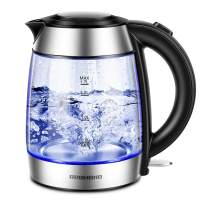 REDMOND Electric Kettle, 1.7L Cordless Glass Tea Kettle BPA-Free, Stainless Steel Finish, 1500W Fast Boiling Hot Water Kettle with LED Indicator, Auto Shut-Off & Boil Dry Protection, EK007