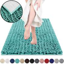 DEARTOWN Non-Slip Shaggy Bathroom Rug(27.5x47 Inches,Turquoise),Soft Microfibers Chenille Bath Mat with Water Absorbent, Machine Washable