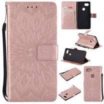 Google Pixel 2 XL Wallet Case,MEUPZZK Sunflower Leather Wallet [Kickstand Feature] [Credit Card Holder] [Magnetic Closure] Flip Shockproof Protective Case Cover for Google Pixel 2 XL (Rose Gold)