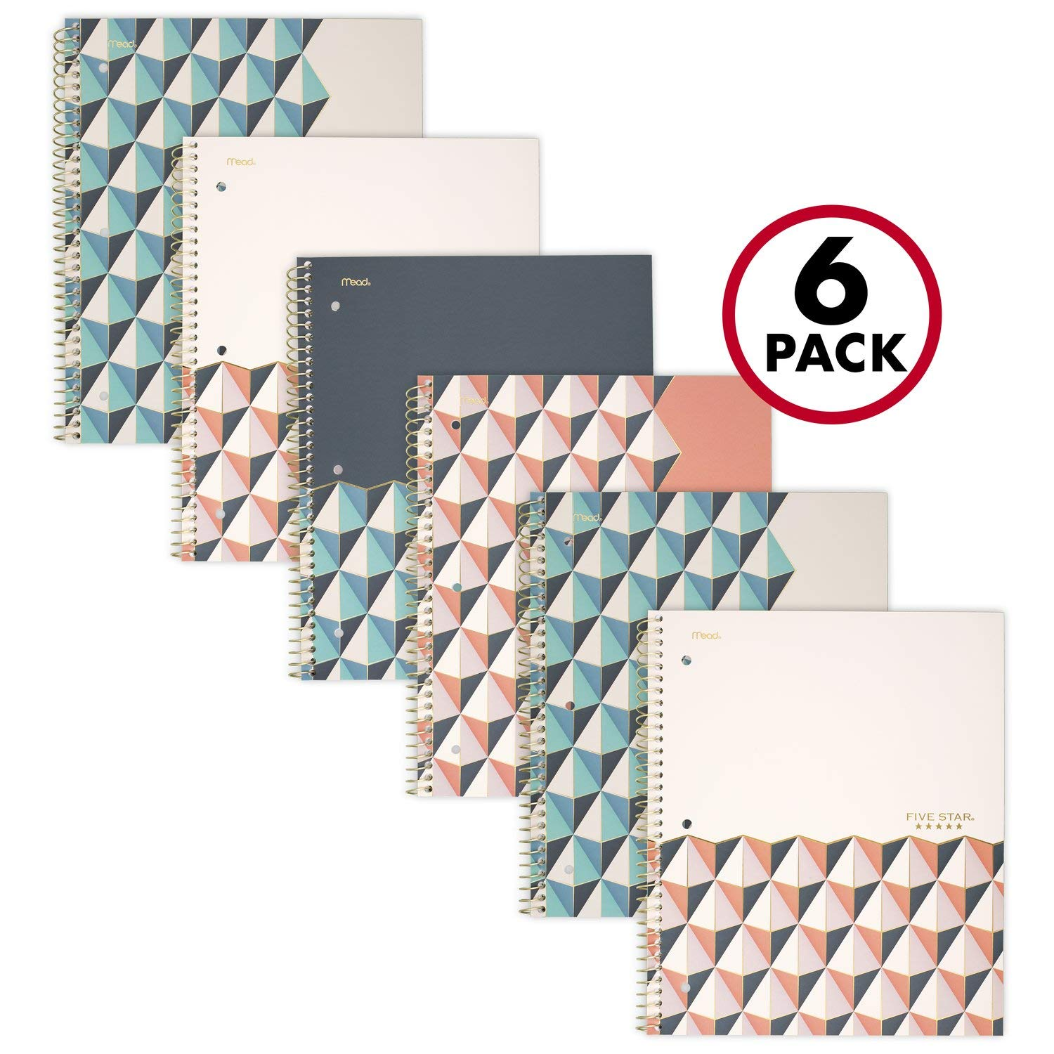 """Five Star Spiral Notebooks, 1 Subject, College Ruled Paper, 100 Sheets, 11"""" x 8-1/2"""", Graphics Design, 6 Pack (38507)"""