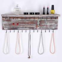 MyGift 2-Tier Contemporary Rustic Torched Wood Wall Mounted Jewelry Necklace Display Rack w/Storage Shelf