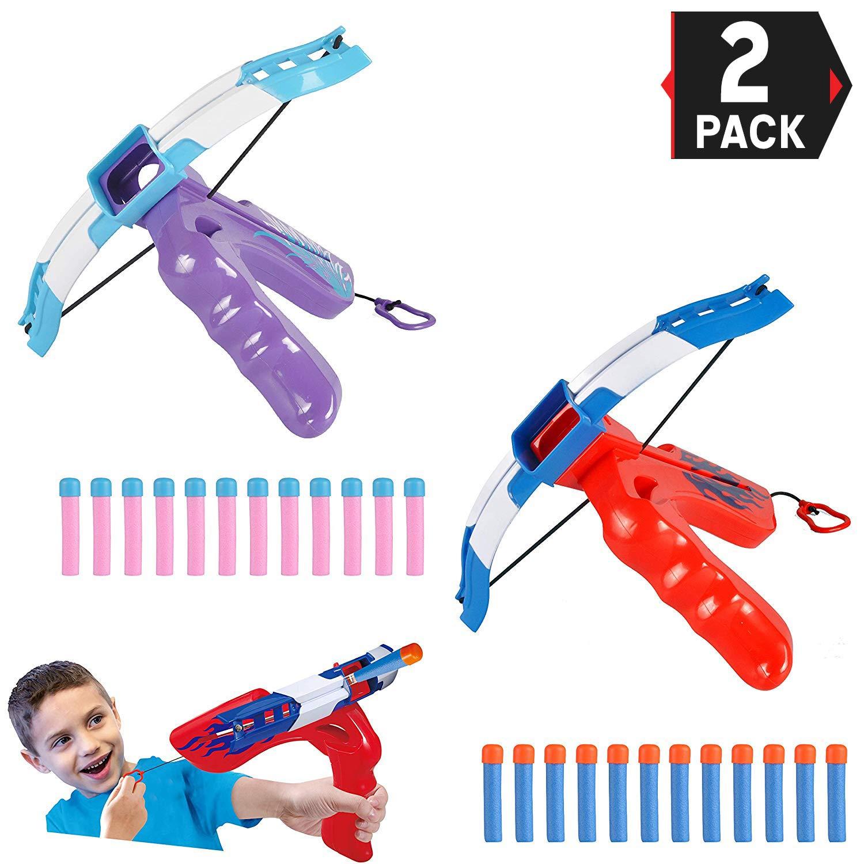 2-Pack Slingshot Bow Catapult Toy Gun   Foam Dart Sling Shot Bow Air Blasters   Ideal Gift for Kids, Boys & Girls (Blue & Pink)