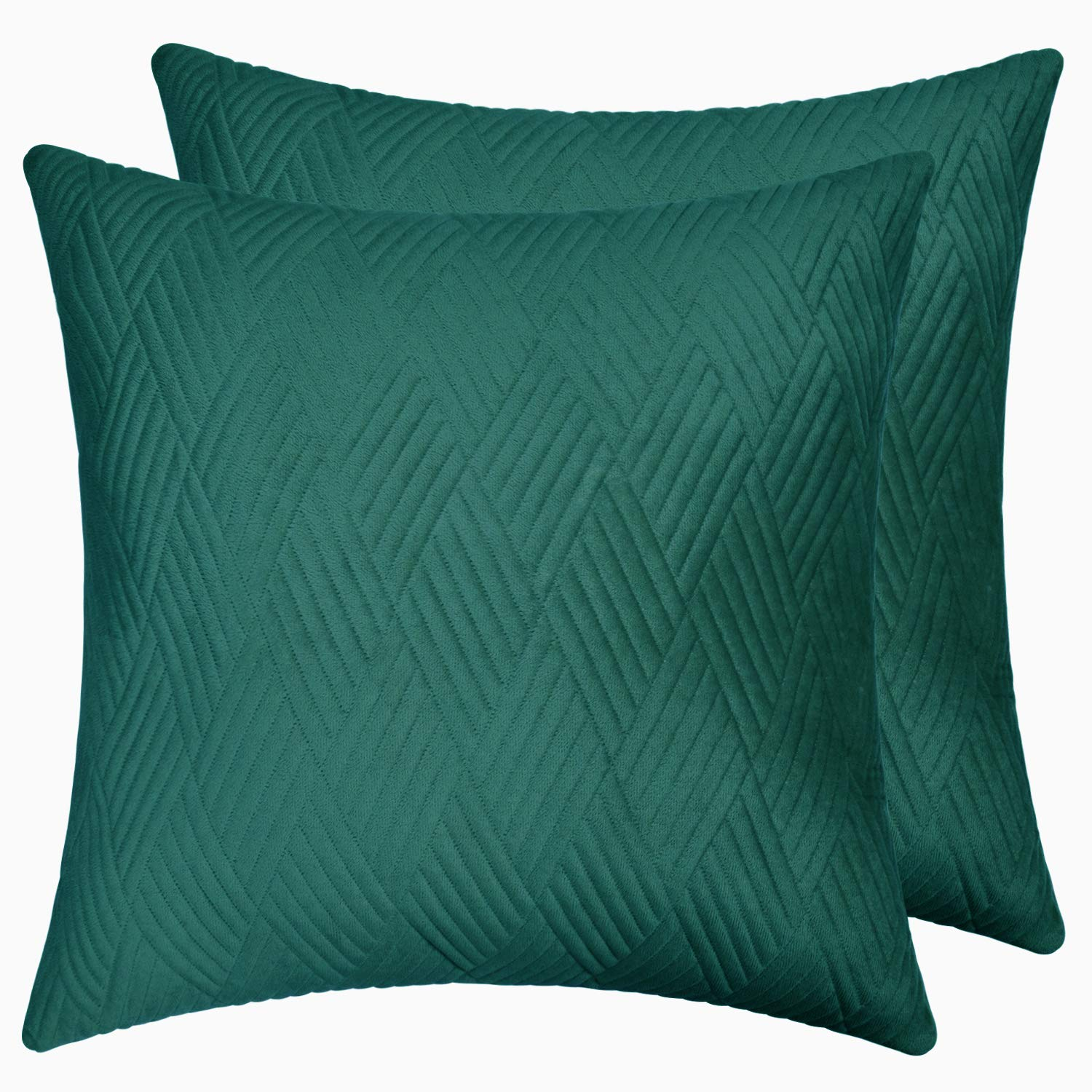 ISSUNTEX Velvet Quilted Pillow Cover Rectangle Square Striped Soft Cozy Throw Pillow Covers Set for Sofa Couch Living Room Bedroom Office Car(Pack of 2, 18x18 in, Dark Green)