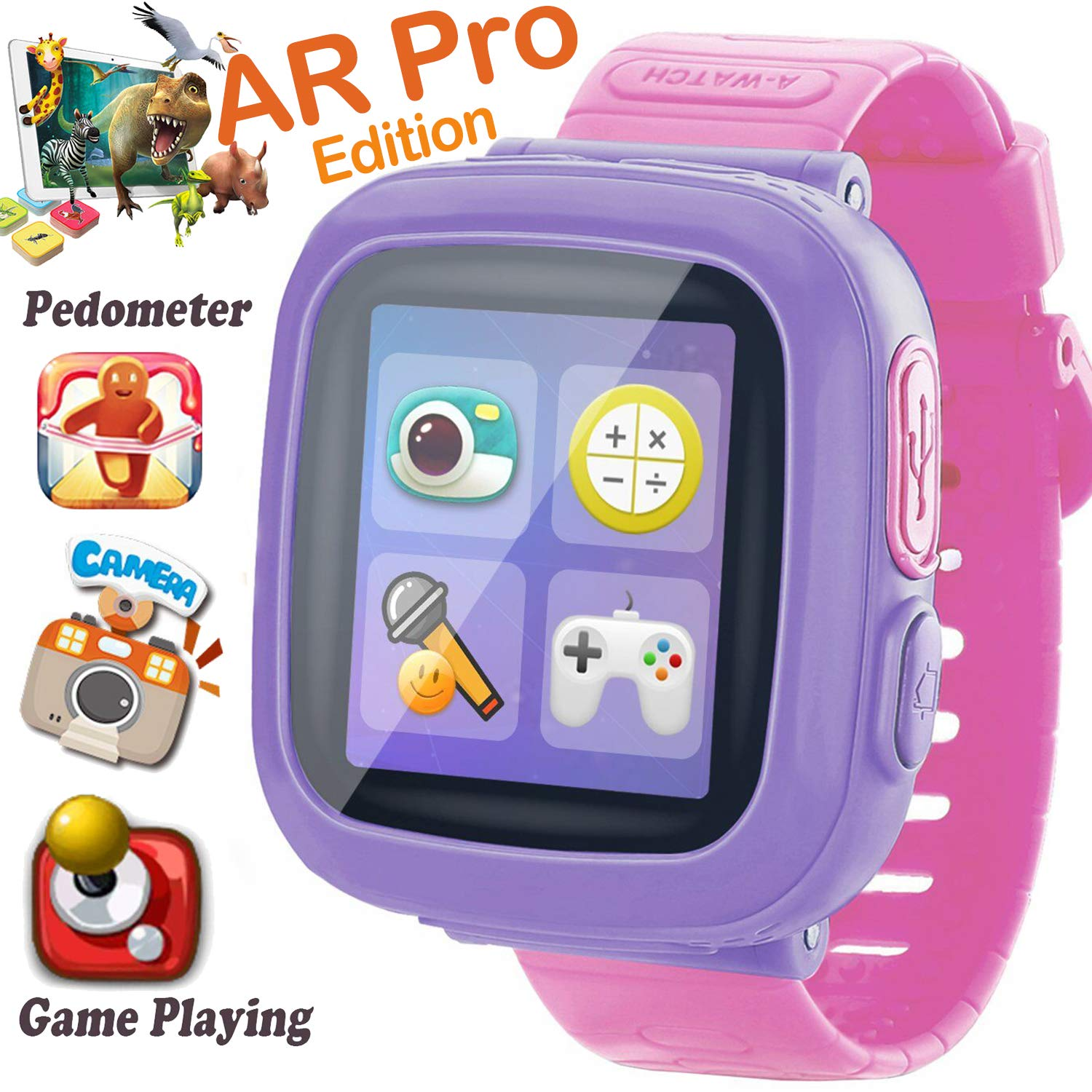 Kids Smart Watch, [AR Pro Edition] Game Smartwatch for Ages 3-12 Girls Boys Toddlers Digital Wristbands, 1.5'' Screen Camera Pedometer Alarm Clock Timer Learning Toys Holiay Birthday Gifts (Pink)
