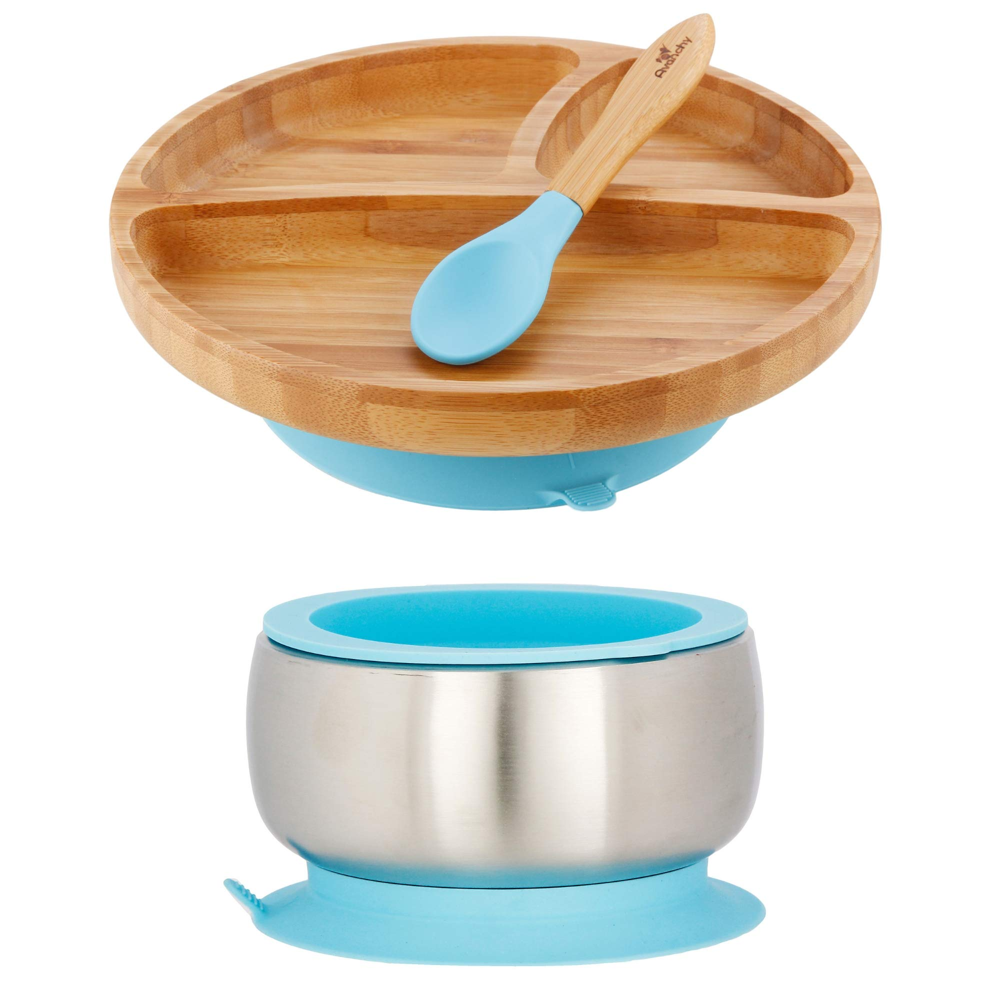 Avanchy Baby Toddler Feeding Bamboo Plate & Stainless Steel Bowl - Stay Put Suction Divided Plates + Baby Spoon + Lid (Blue Sustainable Bundle)