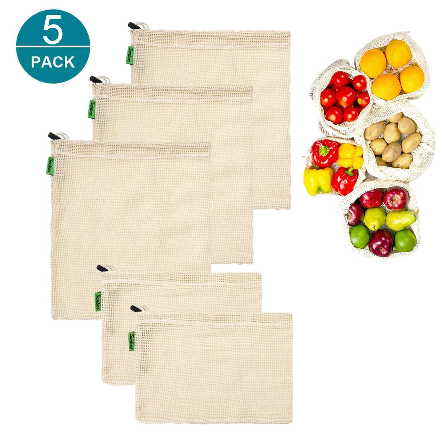 Reusable Produce Bags, Set of 5 Mesh Produce Bags Lightweight Drawstring Bags Zero-Waste Organic Bag Washable Cotton Bulk Bag For Grocery Shopping Storage Fruits Vegetable Toys (3 Medium, 2 Small)