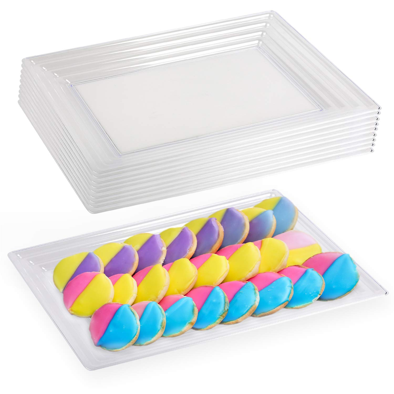 """Elegant Disposable Plastic Serving Trays 24 Pcs – Heavyweight Fancy 11""""x16"""" Rectangular Clear Large Serving Platters - Reusable Party Appetizer Tray For Wedding, Thanksgiving, Birthday & All Occasions"""