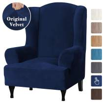 Velvet Plush Stretch Wingback Chair Covers Wing Chair Slipcover Wing Chair Covera Furniture Covers for Wingback Chairs Living Room, Feature Soft Thick Smooth Fabric Machine Washable, Navy