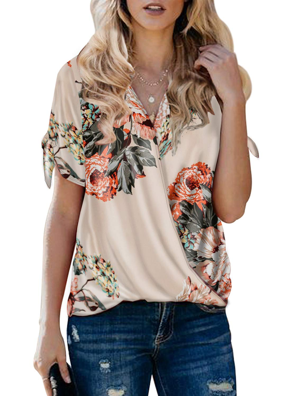 Chase Secret Women's V Neck Floral Print Tie Sleeve Top Casual Loose Blouse Shirts