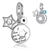 FOREVER QUEEN I Love You to The Moon and Back Charm for Pandora Charm Bracelet& Necklace Chain, 925 Sterling Silver Moon& Star Charm with Shell Pearl and Round Shape Blue Cubic Zircon FQ00021