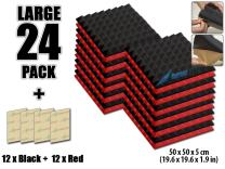 Arrowzoom New 24 Pack of Red & Black (19.6 in X 19.6 in X 1.9 in) Soundproofing Insulation Pyramid Acoustic Wall Foam Padding Studio Foam Tiles AZ1034 (RED&Black)