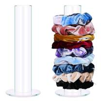 Acrylic Scrunchies Holder Stand with 9 Pack Hair Scrunchies,Large Clear Jewelry Organizer,Soft Velvet Hair Scrunchies with Pocket Hidden Zipper,Fashion Women Bracelet Display Organizers