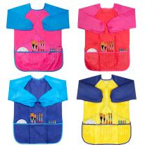 CUBACO 4 Pack Kids Art Smocks Children Waterproof Artist Painting Aprons with Long Sleeve and 3 Pockets for Age 3-8 Years