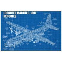 """Inked and Screened SP_Avia_LM BG_17_W Lockheed Martin C-130J Hercules Silk Screen Print, 11"""" x 17"""", Blue Grid - White Ink"""