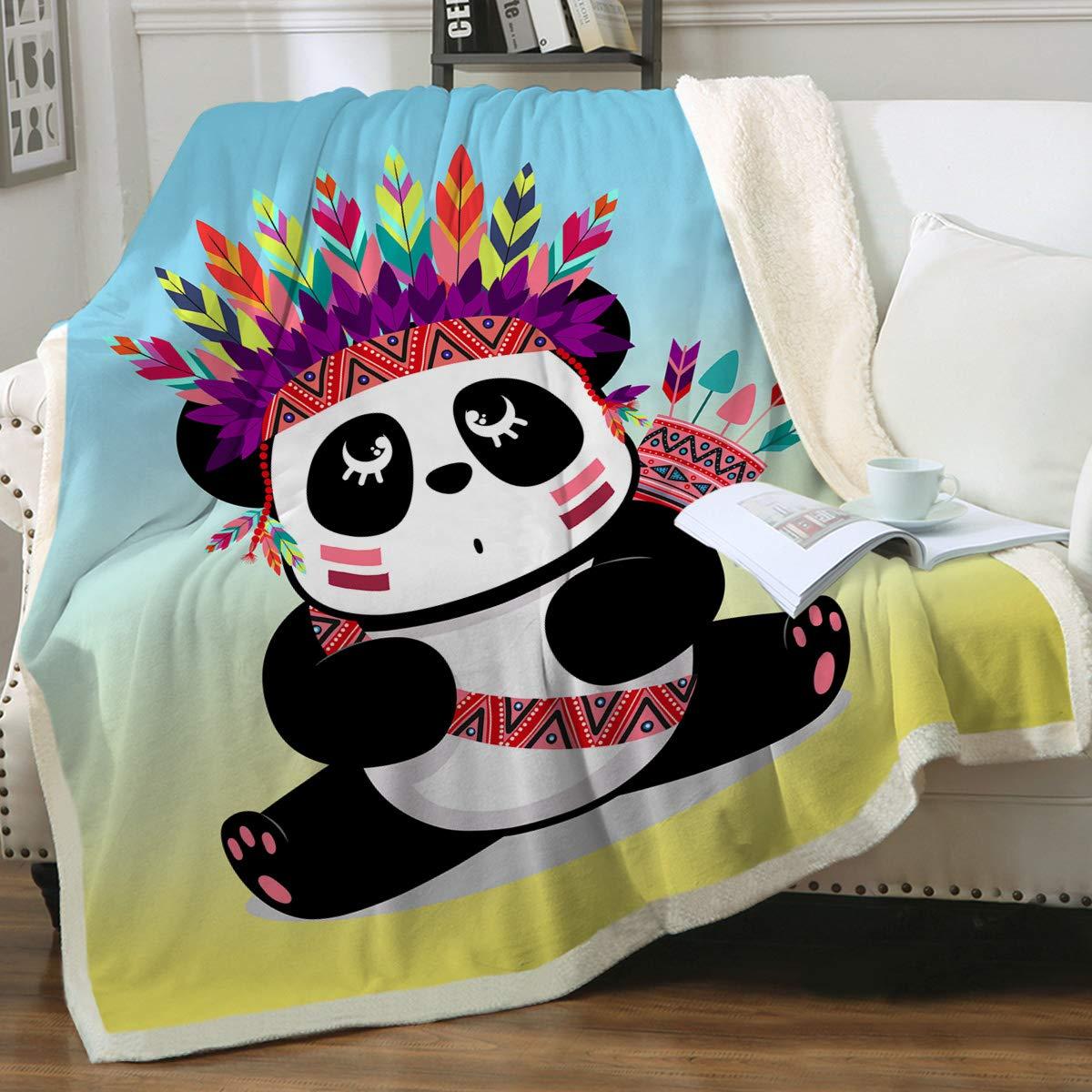 "Sleepwish Panda Bear Sherpa Fleece Throw Blanket for Kids Boys Girls Cute Tribal Panda Fuzzy Blanket Wild Animals Plush Bed Blankets, Teal Blue, Baby(30""x40"")"