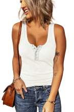 BTFBM Women's Casual Summer Crew Neck Ribbed Tank Tops Button Down Stretch Tight Sleeveless Basic Solid Henley Shirts