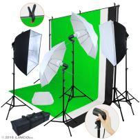 Linco Lincostore LED 3200 Lumens Photo Video Studio Light Kit AM243 - Including 3 Color Backdrops (Black/White/Green) Background Screen