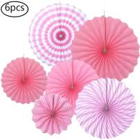Pink Paper Fan Decorations 6pcs Round Hanging Paper Fans for Baby Shower Wedding Birthday Party Supplies