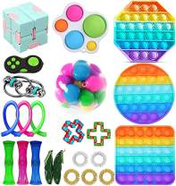 Komoo Fidget Toys Set, Fidgetget Box, Simple Dimple Fidget Toy 25 Packs Cheap, Push Pop Bubble Sensory Toy, Fidgeting Game Kill Time Tools for Kids and Adults (B)