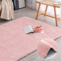 """jinchan Soft Plush Area Rug for Kid's Room Cozy Solid Shag Rug for Living Room Fluffy Warm for Girls Indoor Luxe Mat Modern Floorcover 3'x 5'3"""" Blush Pink"""