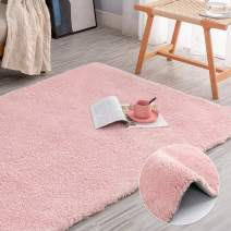 """jinchan Soft Plush Area Rug for Kid's Room Cozy Solid Shag Rug for Living Room Fluffy Warm for Girls Indoor Luxe Mat Modern Floorcover 4'x 6'7"""" Blush Pink"""