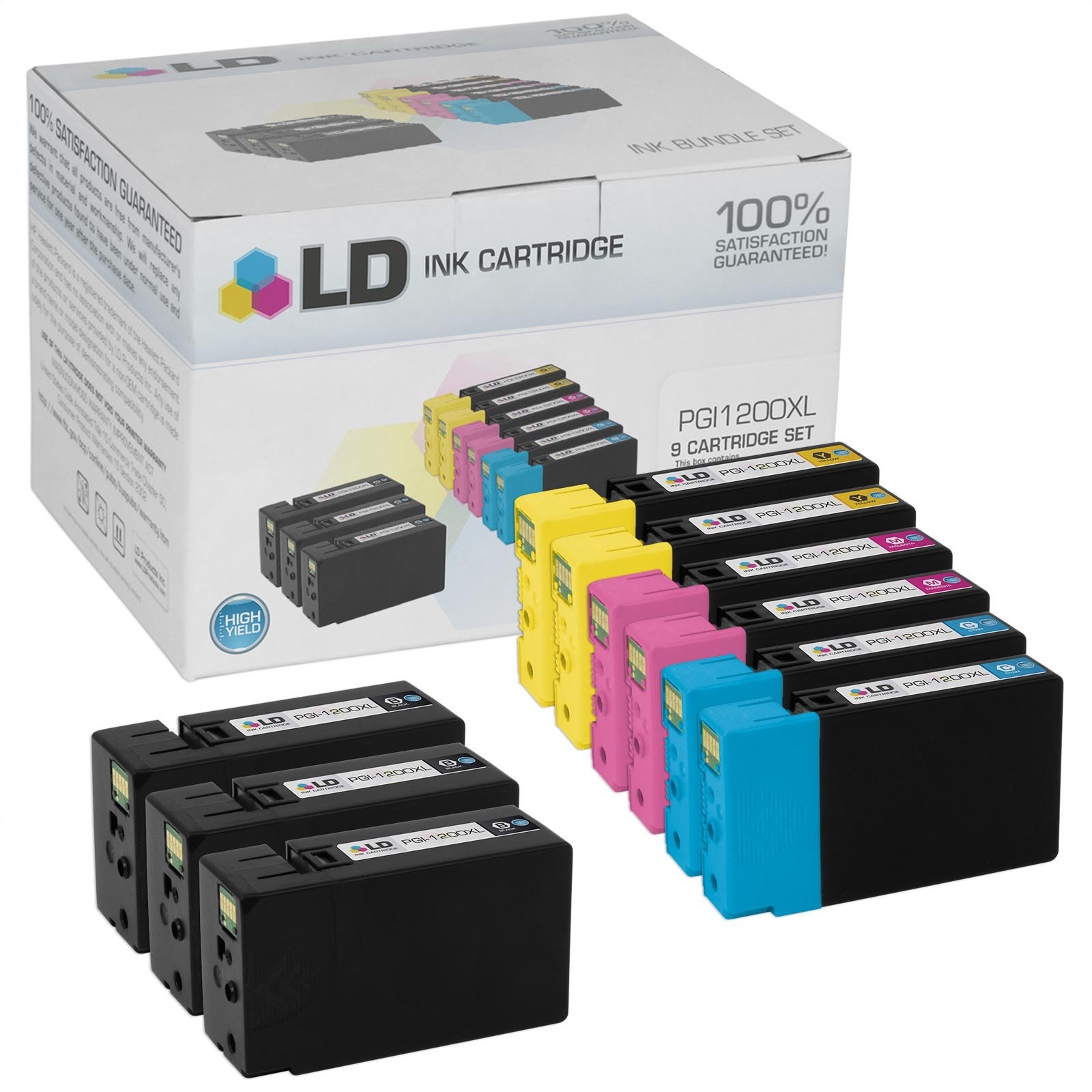 LD Compatible Ink Cartridge Replacement for Canon PGI-1200XL High Yield (3 Black, 2 Cyan, 2 Magenta, 2 Yellow, 9-Pack)