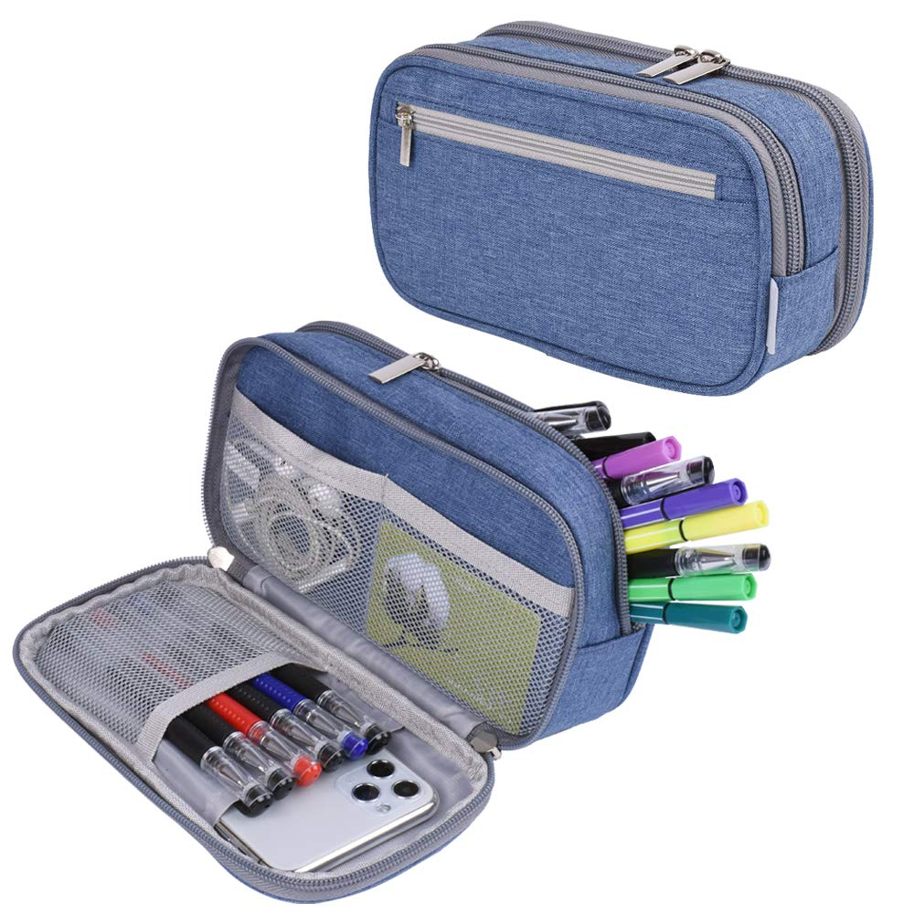 Big Capacity Pencil Case Pencil Bag Pouch Pen Case Pencil Marker Holder Desk Organizer Pencil Cases with Large Storage for Boys Girls College Students Adults and Office Supplies, Blue