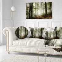 Design Art PT9835-40-20 Light in Dense Fall Forest with Fog Landscape Canvas Art Print, 40x20, Green