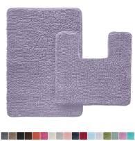 Gorilla Grip Original Shaggy Chenille 2 Piece Area Rug Set, Includes Square U-Shape Contoured Toilet Mat & 30x20 Bathroom Rugs, Machine Wash/Dry Mats, Plush Rugs for Shower & Bath Room, Light Purple