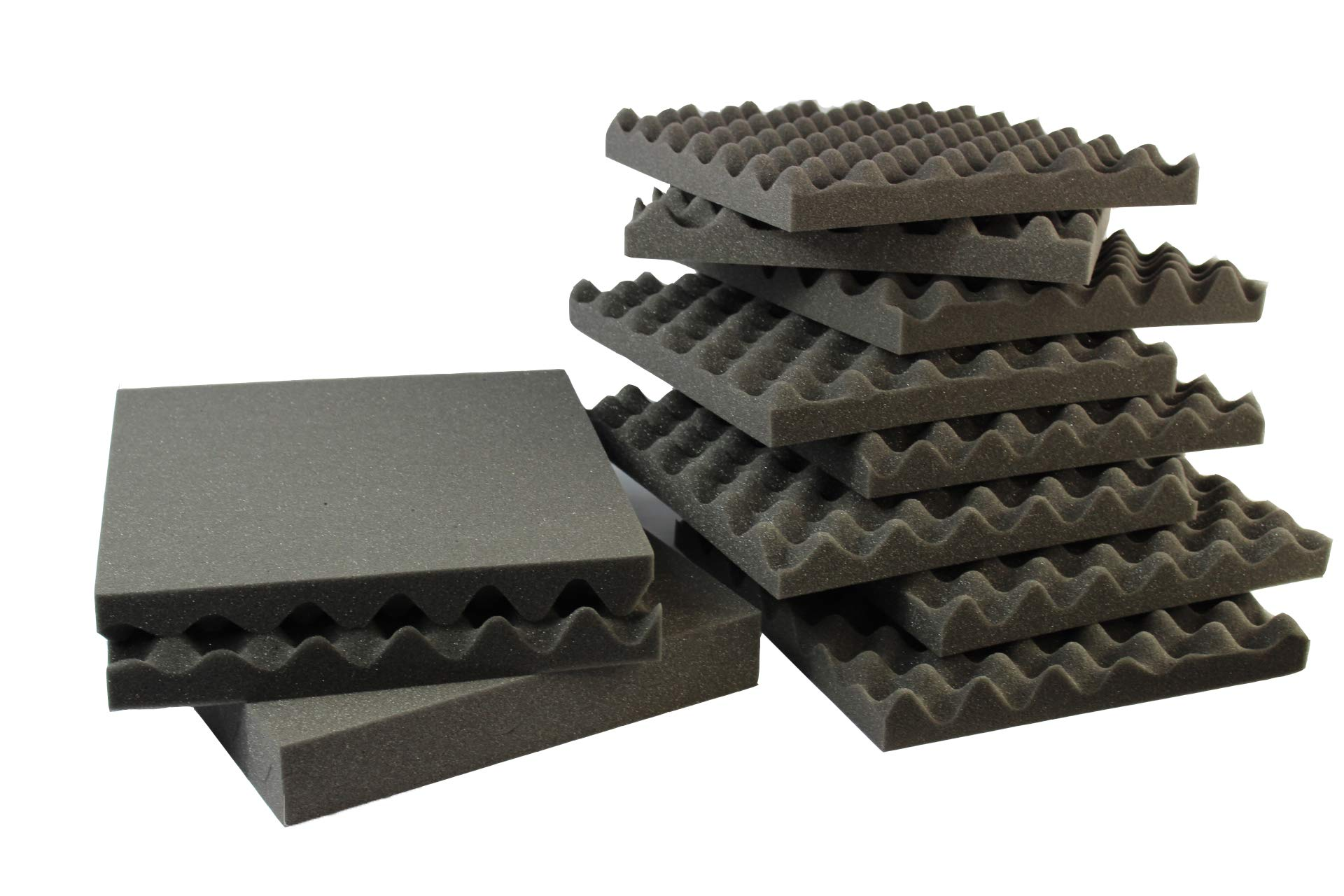 """Mybecca 6 Pack Acoustic Eggcrate Soundproofing Foam Wall Panels 1.5"""" X 12"""" X 12"""" inch, Made in USA - Color: Charcoal"""