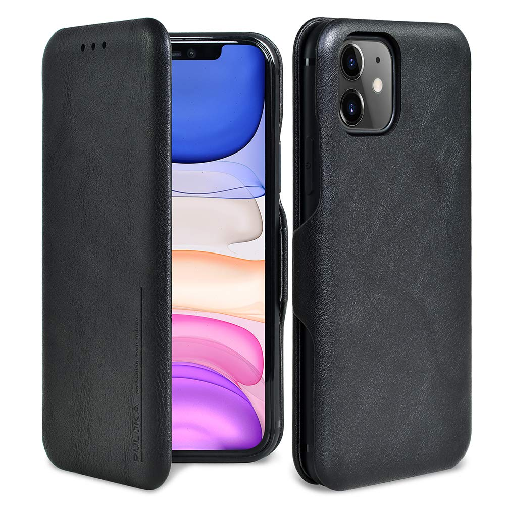 PULOKA iPhone 11 Case Flip Cover iPhone 11 with Card Holder Full-Body Case iPhone 11 Wallet Case Magnetic Protective Closure Case for iPhone 11 6.1 Inch-2019 [Black]