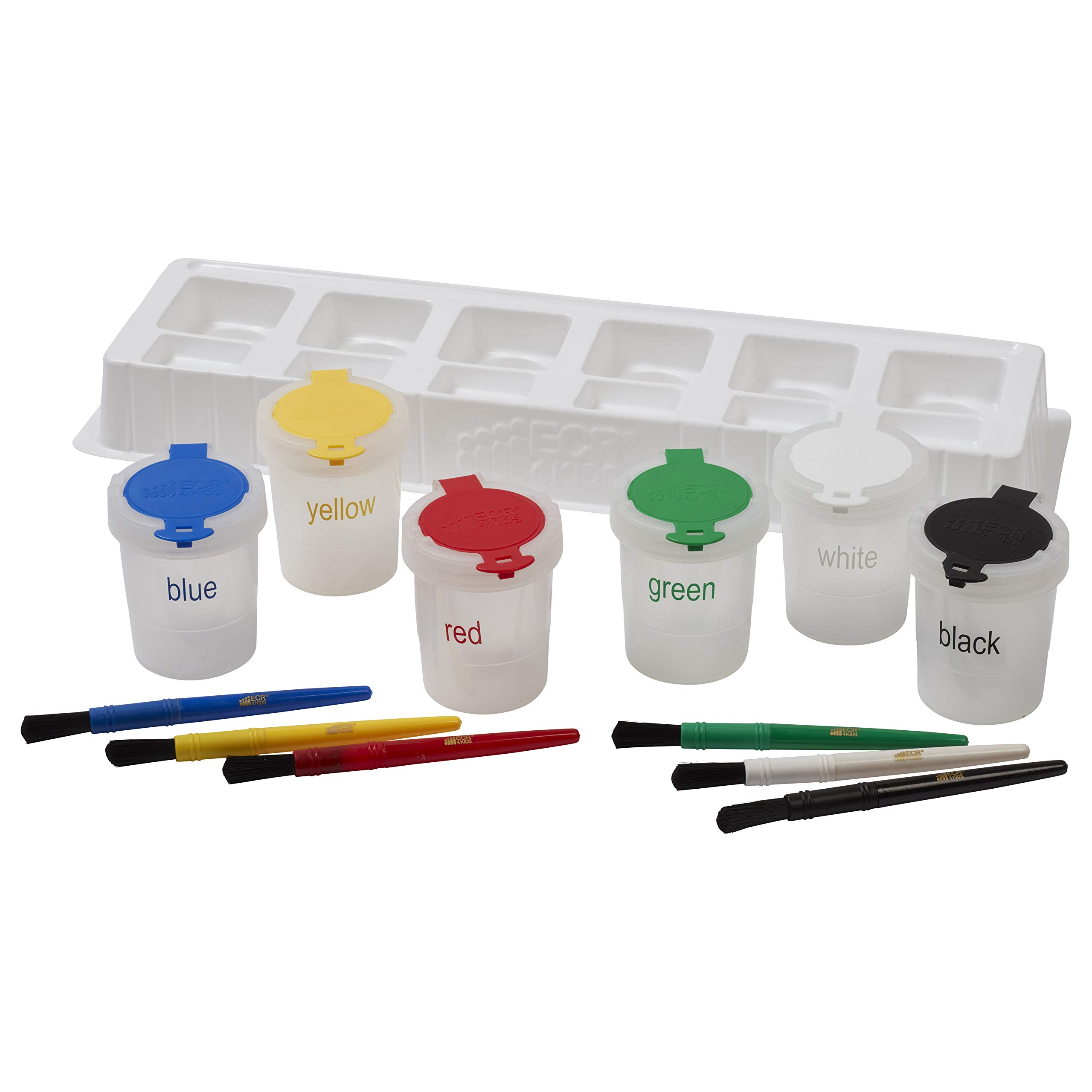 ECR4Kids Art Brush, Tray and Large Trilingual Paint Cups Set - Art Supplies for Kids and Toddlers (13-Piece Kit)