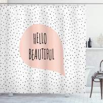 """Ambesonne Hello Shower Curtain, Romantic and Motivational Message in a Pastel Colored Speech Balloon Hand Drawn Dots, Cloth Fabric Bathroom Decor Set with Hooks, 75"""" Long, Blush Black"""