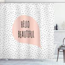 "Ambesonne Hello Shower Curtain, Romantic and Motivational Message in a Pastel Colored Speech Balloon Hand Drawn Dots, Cloth Fabric Bathroom Decor Set with Hooks, 75"" Long, Blush Black"