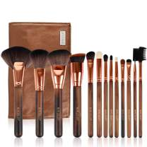 Makeup Brush Set, 13pcs Makeup Brushes Premium Synthetic Bristles Powder Foundation Blush Contour Concealers Lip Eyeshadow Brushes Kit… (005 Wooden handle)