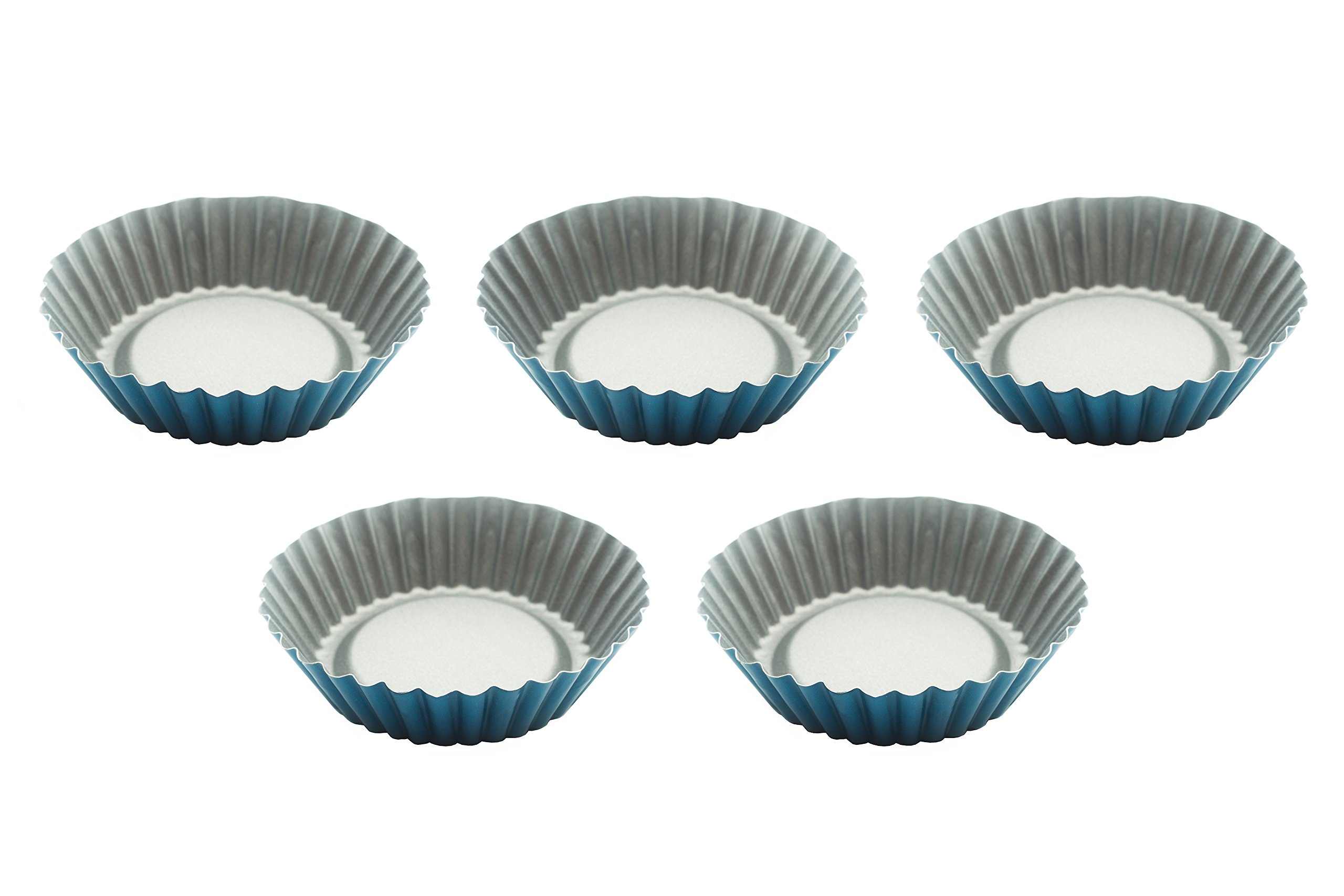 "Mini Tart Pan - 3.9"" Set 5 pcs Tartalet Molds - Teflon Non-Stick Coating Tarts Pastry Baking Tins - Ideal for qiuche muffin cheesecake deserts and more"