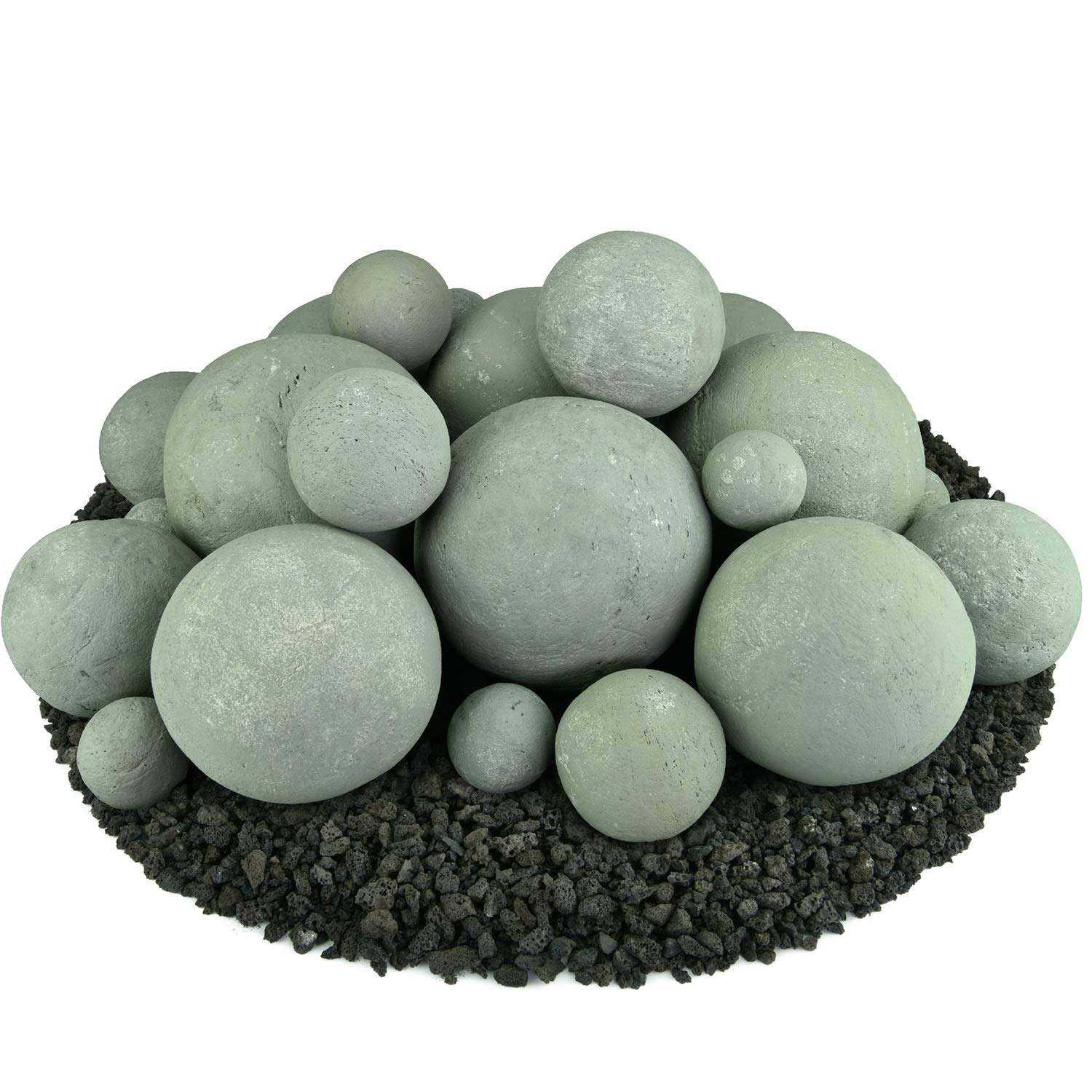 Ceramic Fire Balls   Mixed Set of 23   Modern Accessory for Indoor and Outdoor Fire Pits or Fireplaces – Brushed Concrete Look   Pewter Gray