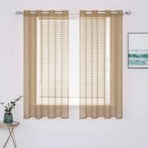 MIULEE 2 Panels Solid Color Taupe Brown Sheer Curtains Elegant Grommet Window Voile Panels/Drapes/Treatment for Bedroom Living Room (54X45 Inch)