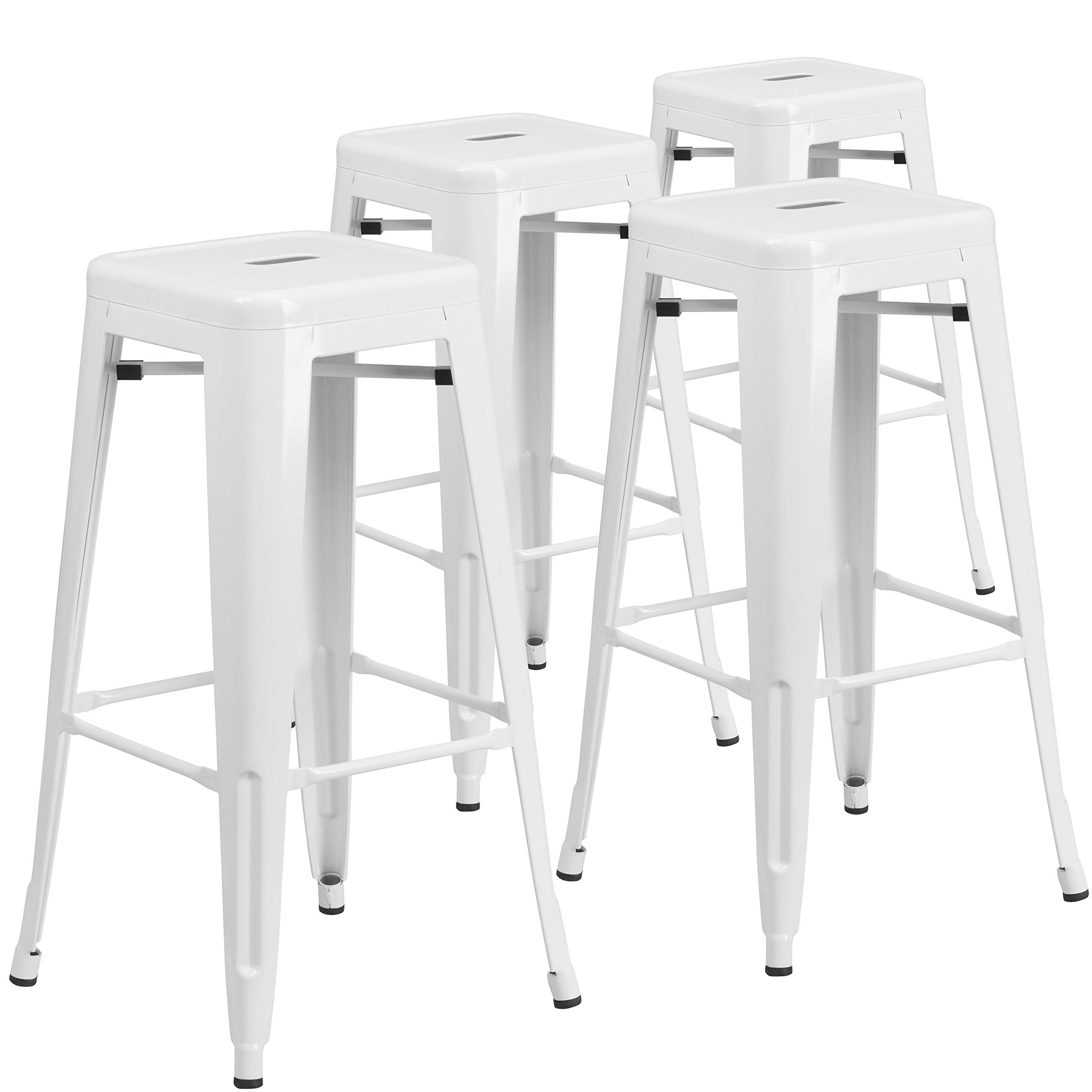 Flash Furniture 4 Pk. 30'' High Backless White Metal Indoor-Outdoor Barstool with Square Seat