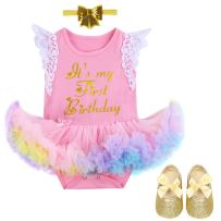 IBTOM CASTLE Baby Kids Newborn It's My 1st Birthday Cake Smash Outfits Romper+Shoes+Headband for Girl Tutu Princess Dress Set