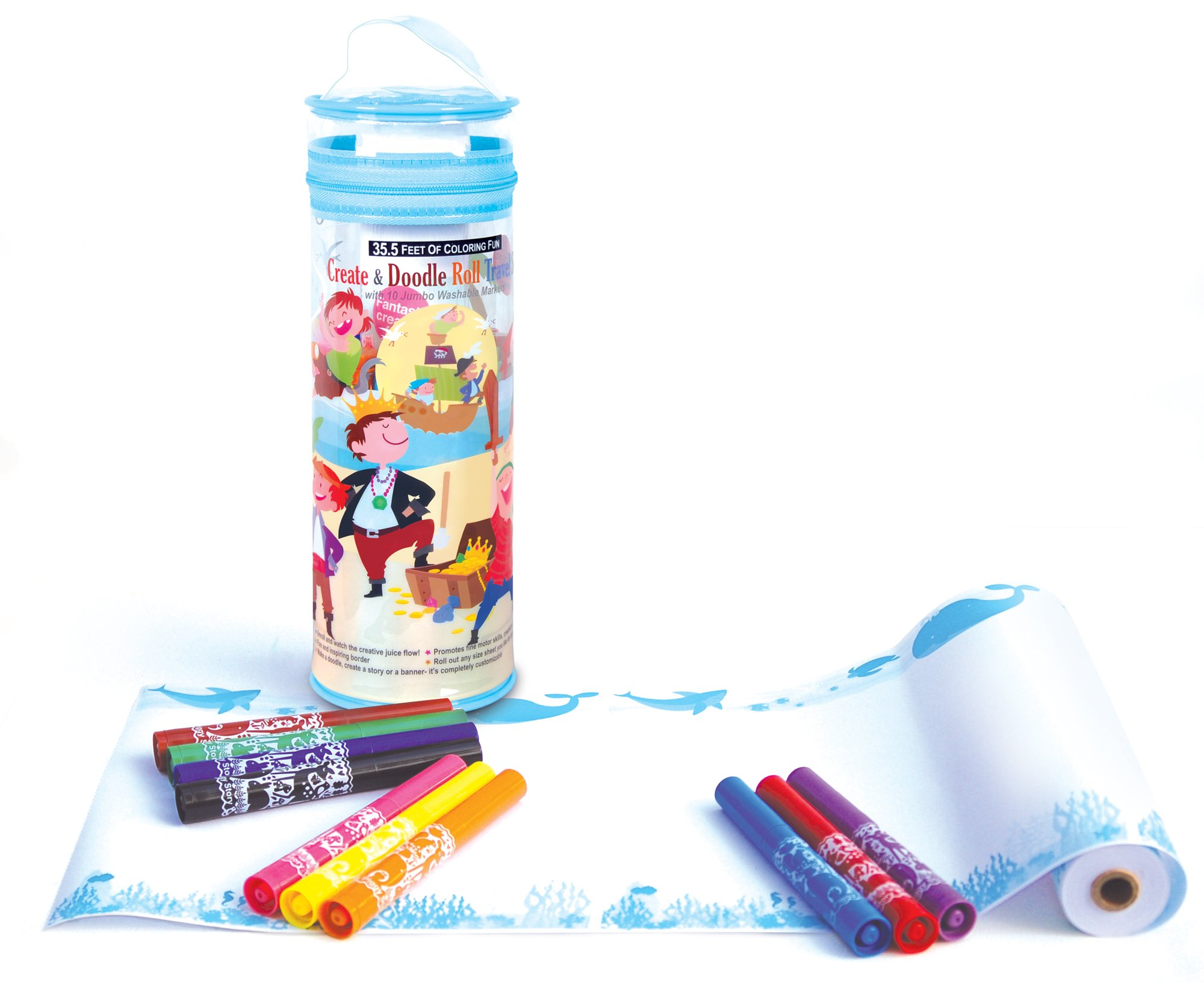 The Piggy Story 'Pirates Ahoy!' Create & Doodle Art Paper Roll Travel Set with Markers