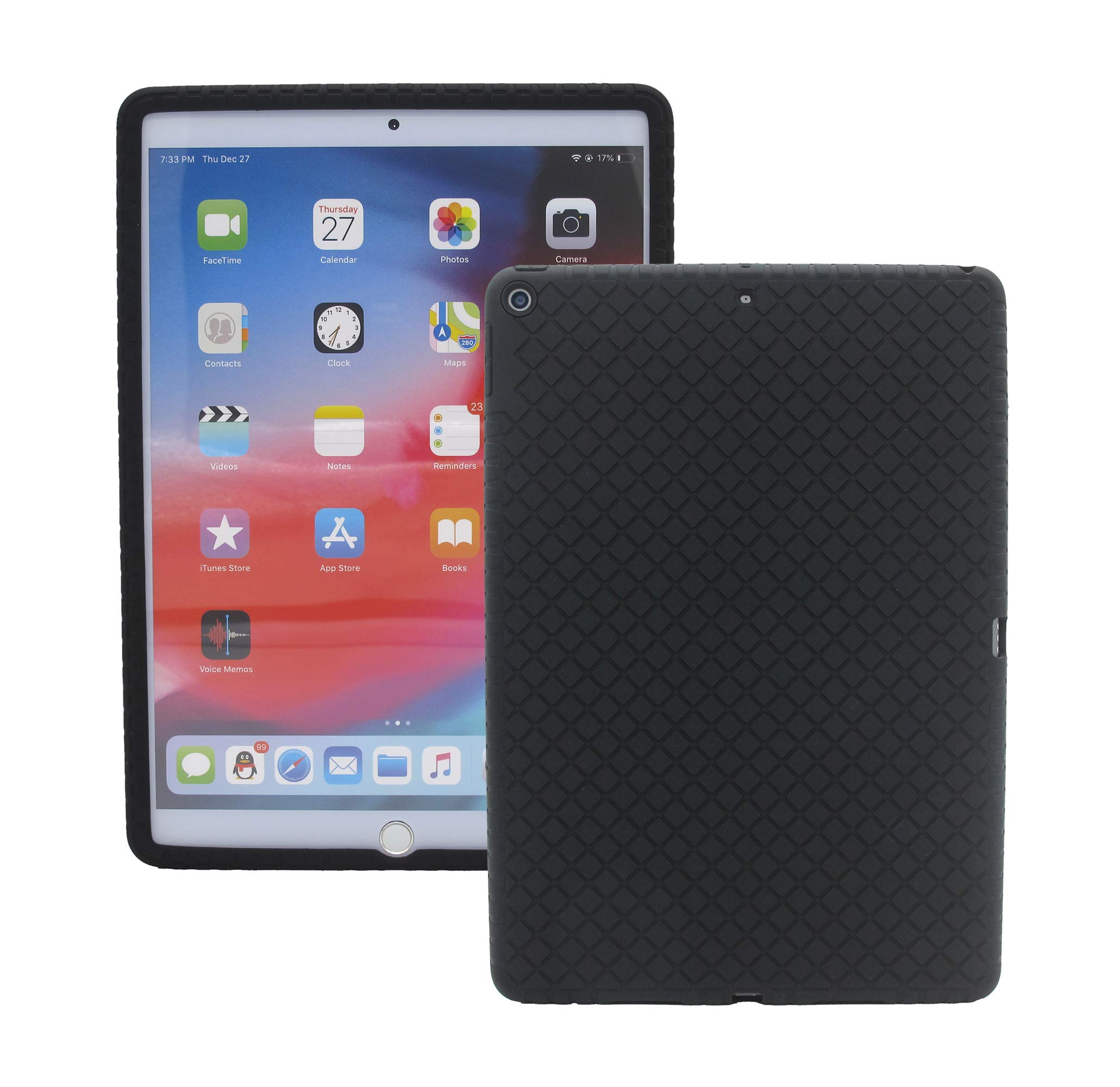 Veamor iPad Air 3 10.5 Inch 2019 Silicone Back Case Cover, Anti Slip Flexible Rubber Protective Skin Soft Bumper for Apple iPad Air 3rd Gen, Kids Friendly/Ultra Slim/Drop Proof/Shockproof (Black)