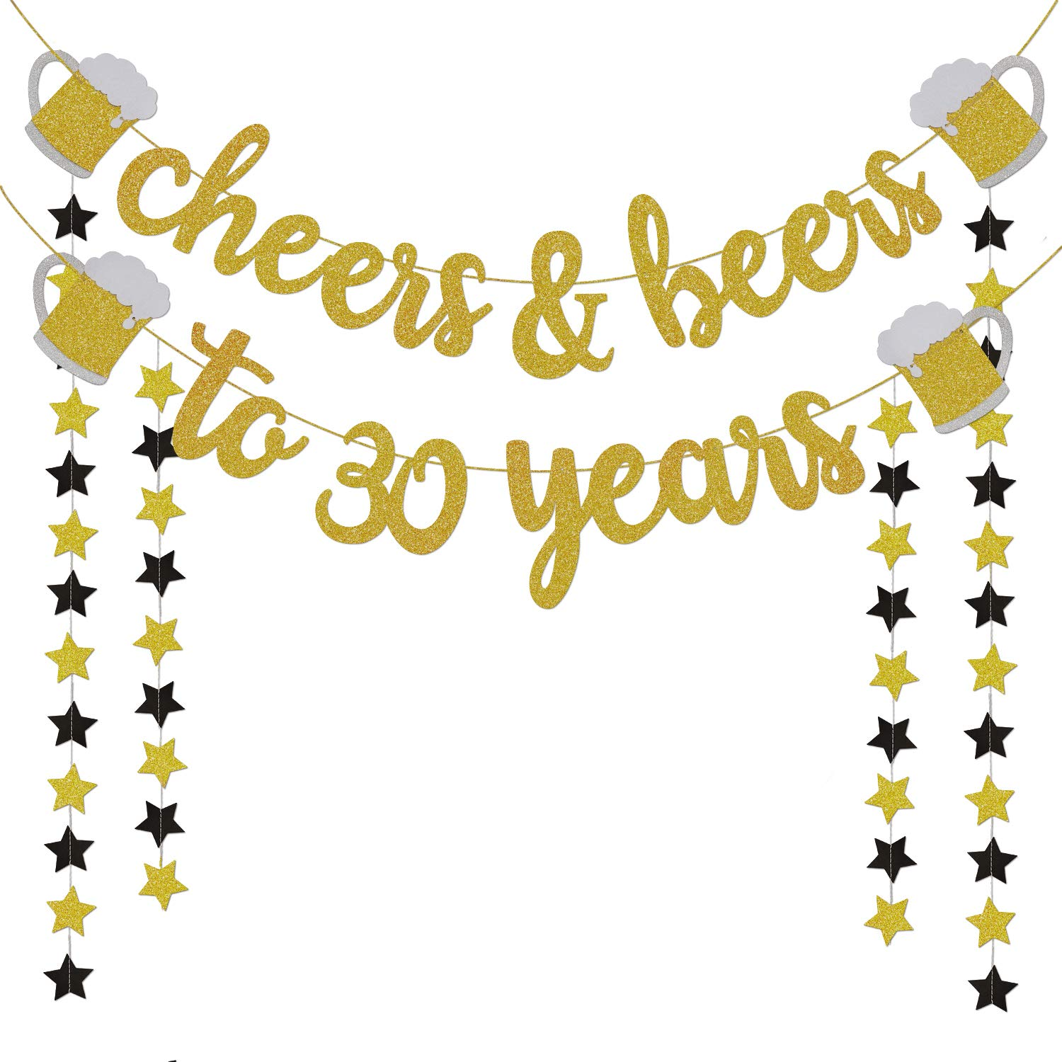 30th Birthday Decorations For Him Her 30th Birthday Gifts Cheers Beers To 30 Years Gold Glitter Banner 30th Anniversary Decorations For Party 30th Wedding Party Supplies For Men Women