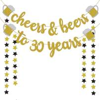 30th Birthday Decorations for Him/Her - 30th Birthday Gifts - Cheers & Beers to 30 Years Gold Glitter Banner - 30th Anniversary Decorations for Party, 30th Wedding Party Supplies for Men/Women