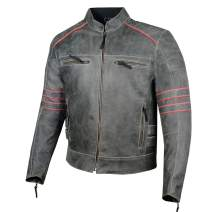 Men's Brotherhood Classic Leather Motorcycle Distress CE Armor Biker Jacket XL
